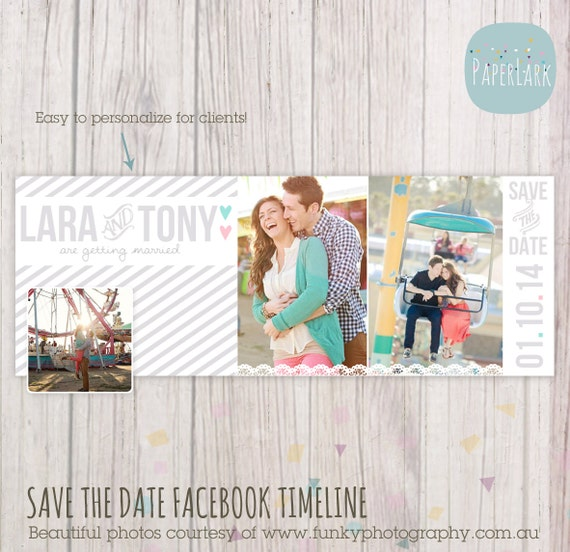 Save The Date Facebook Timeline Photoshop Template HW001