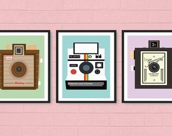 Vintage Camera Print: Polaroid, Herco Imperial, Imperial Flash, Kodak Brownie, or Rolleiflex