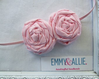 Soft Pink Double Rolled Flower Headband