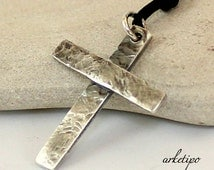 Personalized hammered sterling silver Cross Necklace with black cord.. Handmade Cross.. Men's / Women's Cross pendant (unisex)