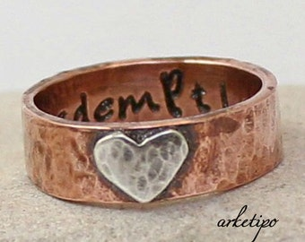 Personalized, hammered Ring of copper and sterling silver (choose your words up to 15 letters).. Best Gift.. Custom Ring..
