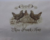 Unbleached 100% Cotton Flour Sack Kitchen Three French Hens 12 days of Christmas