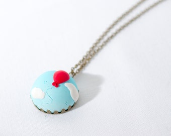 Red balloon pendant - cloudy cyan sky with balloon - white clouds necklace - polymer clay sky with balloon pendant