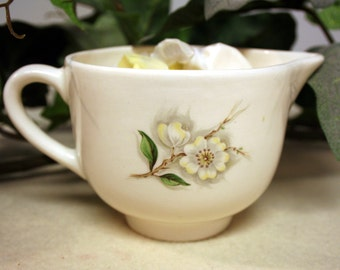 Dogwood creamer-vintage pottery-USA-white with yellow and white flowers