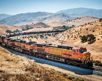 train bnsf tehachapi tehachapi loop rail railroad railfan man cave landscape fine art photography
