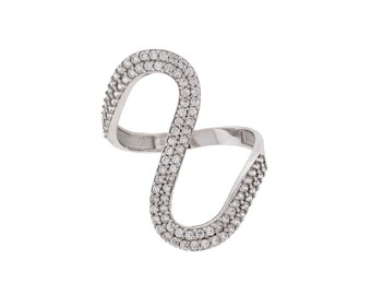 Sterling Silver Wavy Ring with CZ