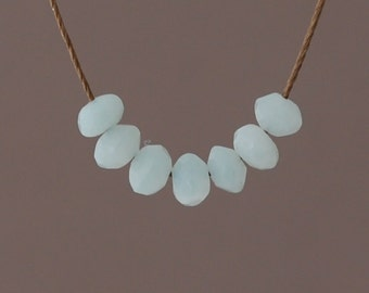 SEVEN Teal Amazonite Stone Silk String NECKLACE or BRACELET