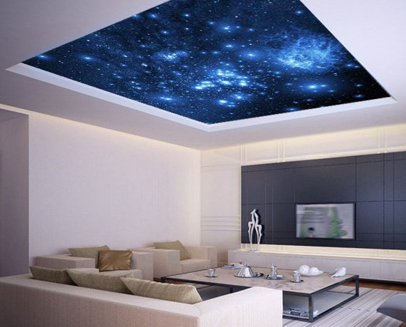 Ceiling sticker mural space blue stars galaxy night by wallnit for Blue moon mural