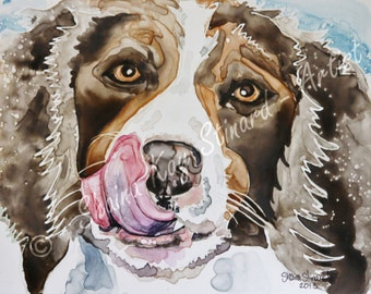 Custom Pet Portrait / watercolor on YUPO / Dogs / pets/ 8 x 10 samples, from your photos