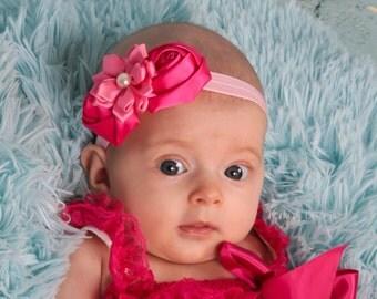 All Pink Flower Headband Valentine Headband Newborn headband baby headbands teen headbands adult headbands