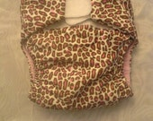 Leopard Print  AIO Cloth Diaper with hook and loop closure