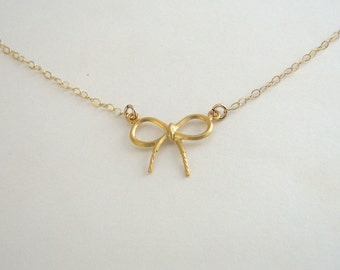 Small Bow Necklace, Gold Bow Necklace, Young Girls Necklace, Childrens Necklace, Little Girls Necklace - 14K Gold Fill Chain