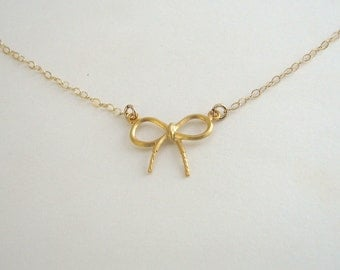 Small Bow Necklace, Gold Bow Necklace, Young Girls Necklace - 14K Gold Filled Chain