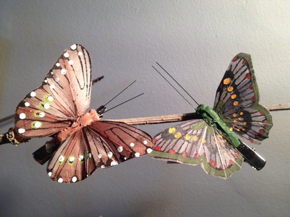 Flutterby butterfly hair clip green and brown by meebeedesigns - Brown butterfly meaning money ...