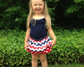 Chevron and Dots Skirt, Red White & Blue, 4th of July, Independence Day, Patriotic