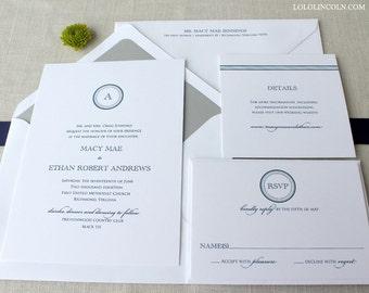 Macy Circle Monogram Wedding Invitation, Modern Monogram Wedding Invitation