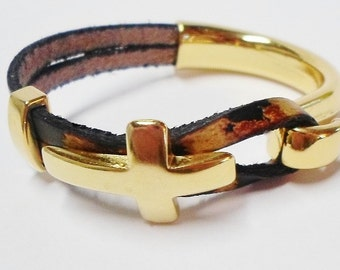SALE: 1 Bright Gold Curved cross slider for 10mm flat leather, multi-stand,
