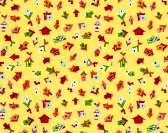 Mini Bird Houses on Yellow 209 Cotton Fabric by Dear Stella! [Choose Your Cut Size]