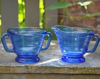 Vintage Hazel Atlas Moderntone Cobalt Blue Creamer and Sugar