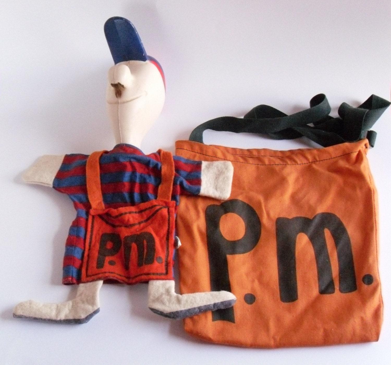 Vintage P M Mooney Puppet Doll Amp Bag Peabody Language