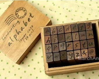 28pcs Lowercase Stamp - Wooden Rubber - Alphabet Stamp - Handwriting Style - Capital and symbol 28pcs in