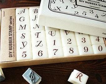 36 pcs/box Bellevue Rubber Stamp Set - Alphabet Stamp Set - Letter Stamp Set - Rubber Stamps