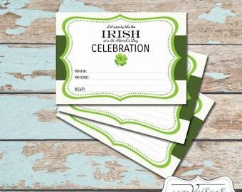 Printable, Instant Download St Patricks Day Invitation - Shamrock