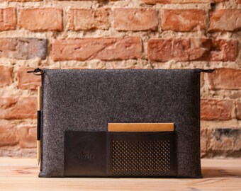 "Retro wool felt and leather case for MacBook 13"" classic, sleeve, cover OSTFOLD"