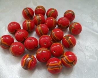 Red Ceramic Beads Fabulous Hand-Made 16mm Round Ceramic Beads Red Orange Gold Glitter Set of 12 #641