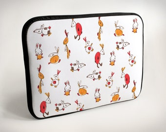 Rabbits - red - orange - Laptop Case - Laptop Bag - Laptop Sleeve
