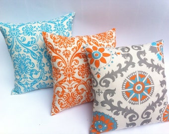 turquoise and orange decorative throw zipper pillow covers set of three turquoise orange pillow. Black Bedroom Furniture Sets. Home Design Ideas