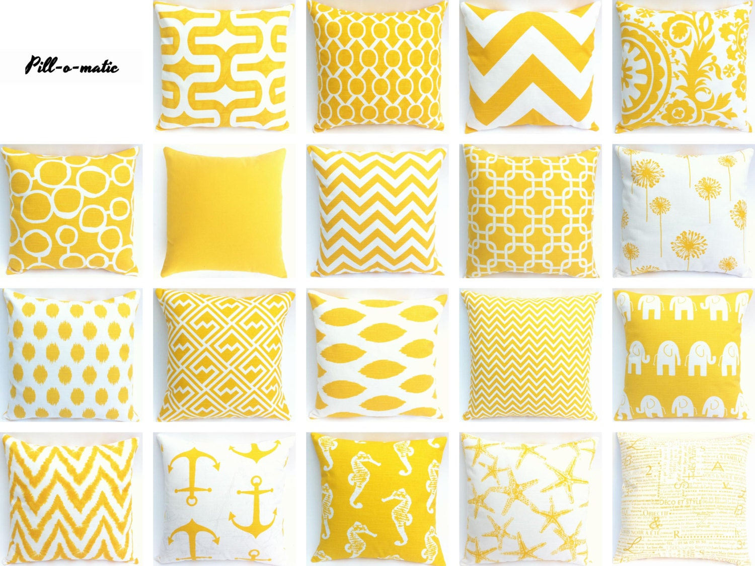 Yellow couch zipper pillow cover 19 fabrics 7 by pillomatic - Fabric for throw pillows ...