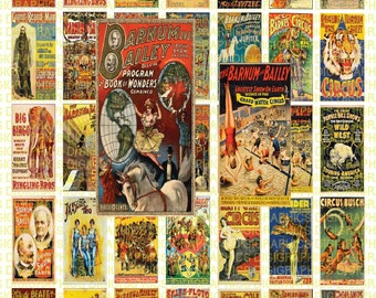 Vintage CIRCUS Posters 1X2 Domino Sized print out digital sheet.