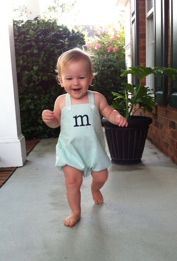 Personalized or Monogrammed Baby Boy's Sunsuit Bubble