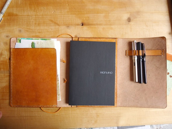 Leather Book Cover Diy ~ Items similar to leather travel notebook sketchbook or