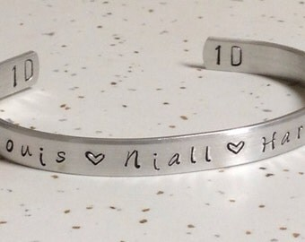 One direction- zayn, louis, niall, harry and liam-Custom hand stamped bracelet