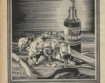 2 Vintage spanish cognac ad from 1947
