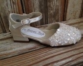 First Communion Flower Girl Beaded Lace Pearl Sequin Small Heel Mary Jane Shoe