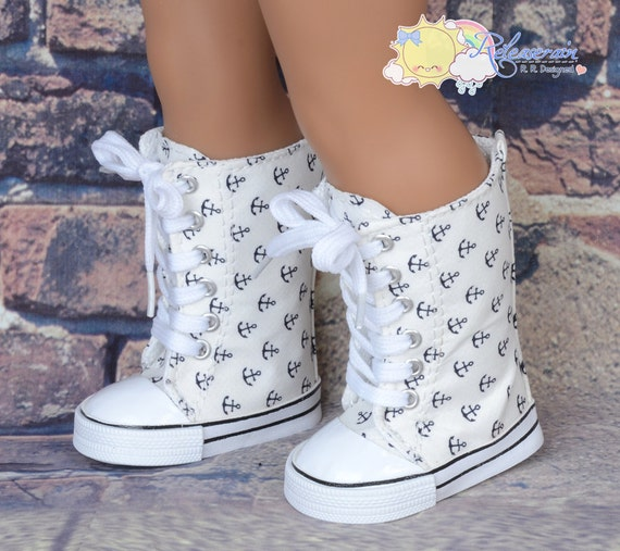 "Black Sailor Anchor on Ivory White Lace-Up Knee High Top Sneakers Boots Doll Shoes for 18"" American Girl dolls"