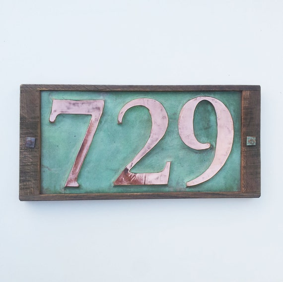 Large copper house numbers in oak frame 3 by for House number frames