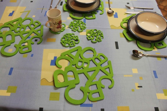 Amazing abc placemats and coaster new designs felt table mats for Table mats design your own