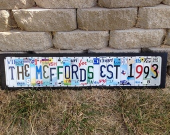 20th Wedding Anniversary Aluminum Gift Custom Recycled LICENSE Plate Art Sign 10th 15th 1st 5th anniversary tin 30th 25th traditional