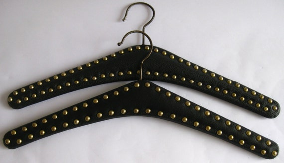 2 Vintage 1960s Clothes Hanger Black  with Studs