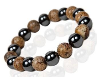Jasper Bracelet, Hematite Stretch Bracelet
