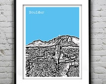 Boulder Colorado CO Skyline Poster Art Print Version 2