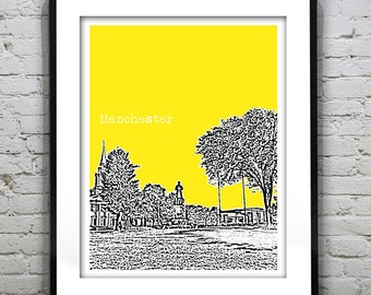 Manchester Skyline Poster Art Print CT Connecticut