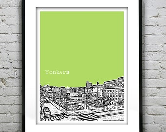 Yonkers New York Poster Print Art Skyline  NY