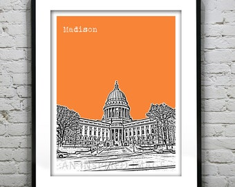 Madison Wisconsin Poster Print Art  Skyline Version 1