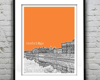 Cambridge Skyline Poster Art Print Ontario Canada Grand River