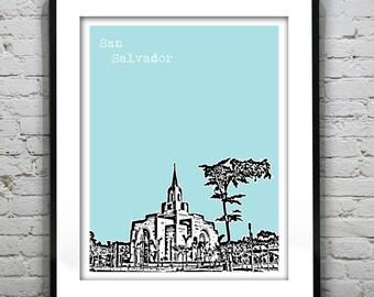 San Salvador Poster Print Skyline Art El Salvador Central America Mormon Temple
